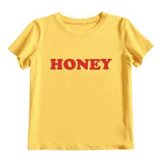 Tied Honey Printed T Shirt ($30) ❤ liked on Polyvore featuring tops, t-shirts, tie tee, yellow t shirt, yellow tee, tie top and tie t shirt