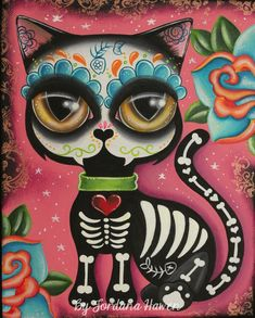 Day of the dead cat art #dayofthedeadcat #lowbrowart