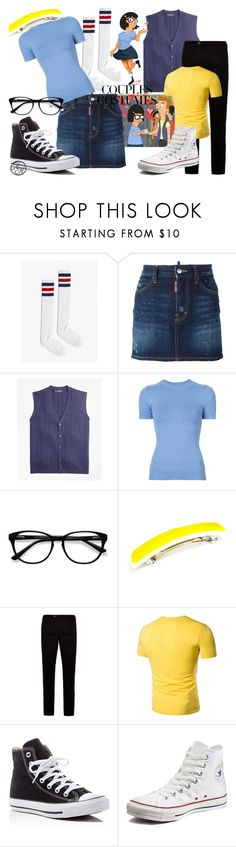 """Tina and Jimmy Jr from Bob's Burger"" by alyssahale ❤ liked on Polyvore featuring Dsquared2, Brooks Brothers, JoosTricot, EyeBuyDirect.com, Ted Baker and Converse"