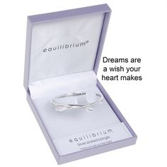 "Equilibrium Silver Plated Bangle - ""Dreams are a wish your heart makes"""