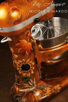 Custom Painted fall themed KitchenAid mixer by Nicole Dinardo of Un Amore INC. Pumpkins, indian corn, fall leaves
