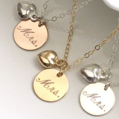 Just Married Mrs. Necklace, Engraved Script & Heart Charm in Silver, Gold Fill or Rose Gold Fill New Bride, Bridal Shower Gift, Honeymoon