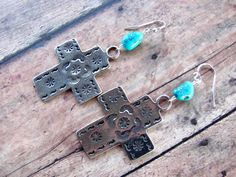 Turquoise cross earrings $28.00 #thecraftstar #cross #turquoise #earrings #blue #campitos #southwestern #christian