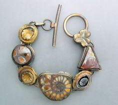 Fossil Ammonite and Opals by Temi on Etsy
