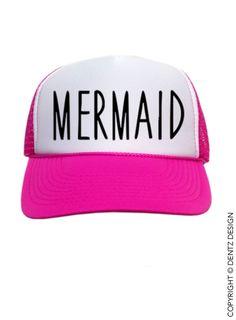 Mermaid Hat  Pink Trucker Hat by DentzDenim on Etsy