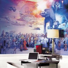 "This Star Wars Ensemble Wall Mural features every character that appeared in the six movies. Prove your Jedi status by naming all of them! Thiss massive removable mural is perfect for home theaters, bedrooms, game rooms, and more! Easy to apply and simple to remove. Please note: One Time Use Only - Removable but NOT Repositionable Mural measures 126""W x 72""H Includes 7 Prepasted, Water-Activated, Easy to Hang Panels Printed on Durable, Damage-Resistant SureStrip Please allow 7-10 days for…"