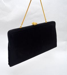 c541bf8c7b9 Classic Black Vintage Handbag or Evening Purse, Bobbie Jerome, Gold Tone  Accents and Chain Strap, 1950s-1960s
