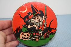 Vintage Halloween Noisemaker ~ Witch & Black Cats Ratchet Style w/ Wood Handle * Circa, 1940-50's