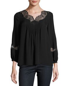 Olsone+Lace-Trim+Blouse,+Caviar+by+Joie+at+Neiman+Marcus.
