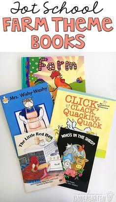 5 great farm themed books for tot school, preschool, or the kindergarten classroom.