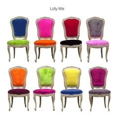 when my dining room chairs need to be recovered...how fun to have the classic lines with the fun colors!