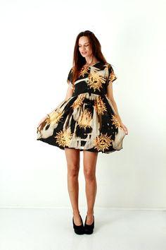 Boho Batic Dress / Tie Dyed Dress / Cotton Indian Dress / Summer Dress / High Waist Dress / Indian Sun / Brown Dress / Beach Dress / Size M