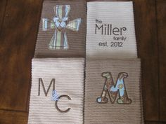 Items similar to Set of 4 wedding or housewarming monogrammed/appliqued kitchen towels tea towel/dish cloths--wedding gift-bridal shower on Etsy Sewing Hacks, Sewing Crafts, Sewing Projects, Applique Designs, Machine Embroidery Designs, Zine, Monogrammed Beach Towels, Embroidery Applique, Embroidery Ideas