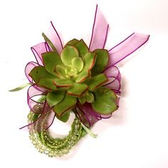 Flutterby Floral: Succulent Corsage and Boutonnieres - Mana vietne Succulent Corsage, Flower Corsage, Wrist Corsage, Bracelet Corsage, Flower Bracelet, Flower Jewelry, Prom Corsage And Boutonniere, Corsage Wedding, Wedding Bouquets