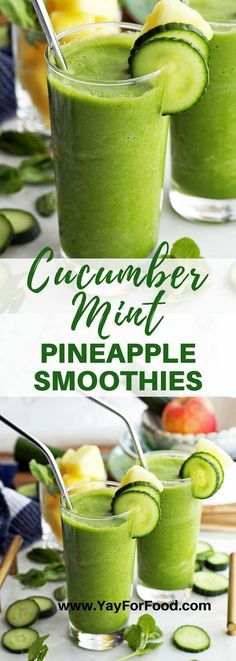Cucumber Mint Pineapple Smoothie Sweet, tart, and fresh flavours collide in this refreshing healthy smoothie recipe. Pineapple, cucumber, and mint (plus more) blend together to make a quick breakfast or snack with no added sugar. Smoothie Fruit, Mint Smoothie, Smoothie Drinks, Pineapple Smoothies, Green Smoothies, Fruit Juice, Juice Menu, Cucumber Smoothie, Smoothie King