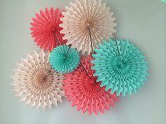 Tissue Paper Fans - 5 Pom Wheels Dessert Cocktail Hour Decor - Baby Mobile - Accordion Paper - Tiffany Blue Aqua Coral Pink - Anthropologie