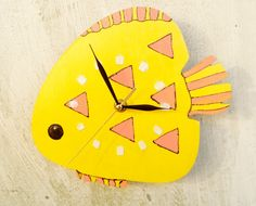 Small yellow wall clock Fish Wood wall clock by ClockArtVintage Handmade Wall Clocks, Unique Wall Clocks, Clock Art, Clock Decor, Yellow Wall Clocks, Yellow Fish, Russian Art, Blue Walls, Wood Wall