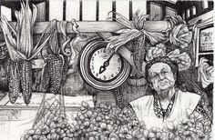 Autor: Camilo A. Lamprea León Titulo: Plaza de mercado  Técnica: tinta sobre papel  Dimensiones: 14 x 10 cm Año: 2014