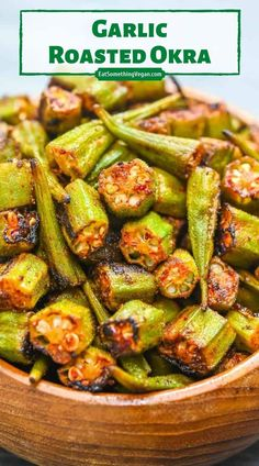 Baked Okra, Roasted Okra, Best Vegetarian Recipes, Whole Food Recipes, Cooking Recipes, Vegan Dishes, Tasty Dishes, Good Food, Yummy Food