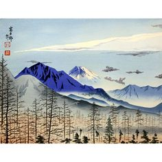 Shop DISTANT VIEW OF FUJI Vintage Japanese Woodblock Print by Listed Artist Tokuriki and other jewelry, art, coins, rugs and real estate at www.aantv.com