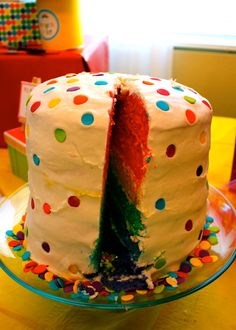 Rainbow Cake from a Rainbow Art Party #rainbow #cake