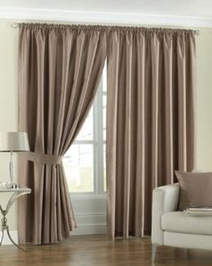 Fiji Faux Silk Pencil Pleat Curtains Latte Tie Backs 168 x 229: Amazon.de: Kitchen & Home