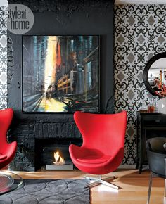 Living Room Red Chair Brick Fireplaces 49 New Ideas Black White Rooms, Black And White Interior, Style At Home, Midcentury Fireplaces, Loft Stil, Small Home Offices, Black Fireplace, Living Room Red, Soho