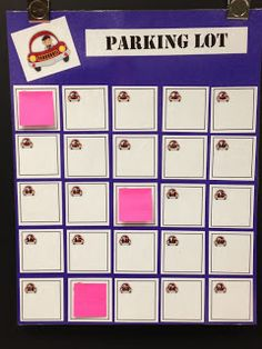Parking Lot Assessment: Create a poster with a numbered square for each student in your class and assign each student a number. When you want to do a quick assessment, students respond on a sticky note and put it on their numbered square. Classroom Freebies, Future Classroom, School Classroom, Classroom Ideas, Classroom Inspiration, Classroom Procedures, Teaching Strategies, Teaching Tips, Teaching Math