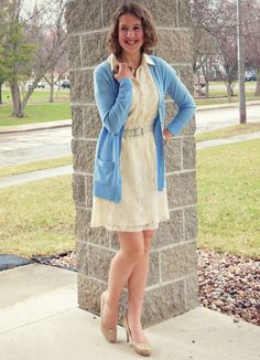 Easter outfit up on my blog! #lace #cream #nudeheels #bluecardigan #easter