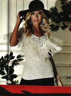 Mania-de-Tricotar: Blusa em crochê branca com franjas!!!! Essa é Show...  http://mania-de-tricotar.blogspot.com.br/