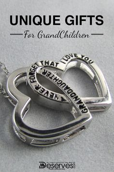 """Show your granddaughter just how much you love her with a unique gift from Deserves.com. This exclusively designed, two-heart necklace reads, """"Granddaughter, never forget that I love you."""" Save 20% on your first order when you enter your email and become a VIP."""