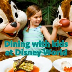 Info on dining with kids at Disney World, including suggested places to eat and things to consider with the Disney Dining Plan.
