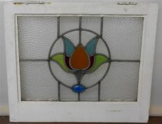 """MID SIZED OLD ENGLISH LEADED STAINED GLASS WINDOW Floral design 23"""" x 19.5"""""""