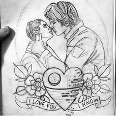Amazing and beautiful Star Wars tattoo sketch!