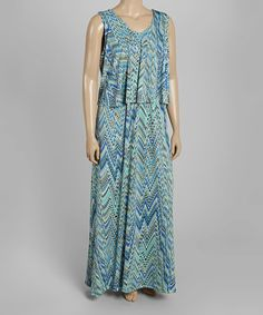 Look what I found on #zulily! Blue & Green Abstract Layered Maxi Dress - Plus #zulilyfinds