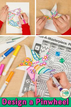 Searching for unique summer art projects for kids that your students will love? Try this pinwheel art roll-a-dice art game! Going to be absent? Fill up your art sub plans folder with no-prep art projects like this. Use the included writing prompts to make Summer Art Projects, Art Projects For Adults, Summer Crafts For Kids, Summer Kids, Teen Art Projects, Art Journal Pages, Art Journals, Briar Rose, Smash Book