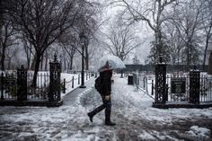 Washington Square Park in New York City's Greenwich Village empties out thanks to a steady downfall of snow threatening to slam the city with 5 to 8 inches.