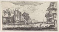 Jan van de Velde (II)   Landschap met figuren bij een versterkt huis met twee torens, Jan van de Velde (II), 1639 - 1641   Landschap met figuren bij een versterkt huis met twee torens. 23ste prent van een serie met 36 prenten van landschappen, verdeeld over zes delen.