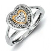 Sterling Silver 14k Plated Diamond Heart Ring - Promise Ring