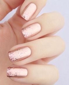 Metallics and glitter in rose gold, a new bridal nail art classic. #best #nail #designs #art
