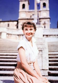 I want to sit on big, wide stairs in Italy in a white sundress.   (Audrey in Rome on the Spanish Stairs - Roman Holidays)