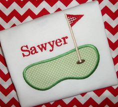 Golf Green Sports Applique Monogrammed T Shirt by Blumers Embroidery