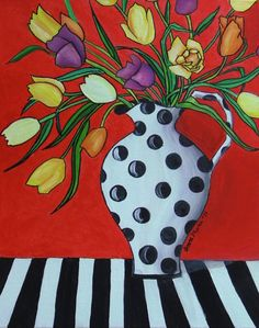 Modern Contemporary Abstract Folk Painting of Tulips by canvasart1, $149.00