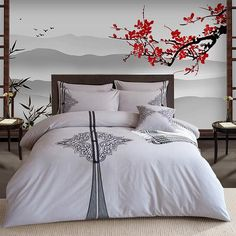 Amounts and size Queen Size ( suitable for width bed) 1 piece Duvet Cover: 1 piece Bed 2 pieces Pillowcases: King Size ( suitable for width bed) 1 piece Duvet Cover: 1 piece Be Queen Size Bed Sets, Queen Size Bedding, Unicorn Bed Sheets, Grey Bed Covers, Retro Bed, King Size Duvet Covers, Oriental, Cotton Bedding Sets, Grey Bedding