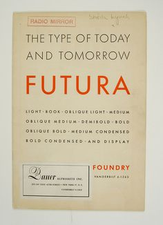 1930's Futura specimen booklet from Bauer Alphabets Inc.
