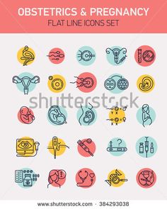 Set of 25 vector flat design icons on gynecology, obstetrics and pregnancy woman…
