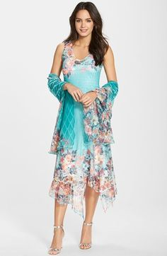 Komarov Ruffle Print Chiffon A-Line Dress Shawl