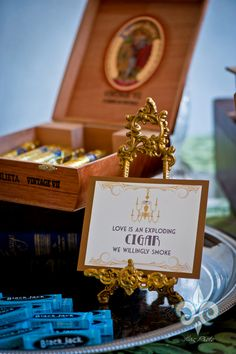 Love the special touch with the Van Damme Weddings Cigar Table