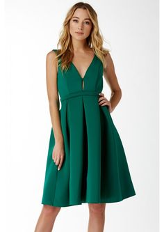 Ballroom Dancing Pleated Midi Dress || An extravagent pleated dress. This dress has a plunging V-neck neckline, thick shoulder straps, and a pleated bottom that flares out beautifully. Back has a single zipper for closure. Pair this with a pair of pumps, hair up to show off your collar bone, jewlery, and a clutch!