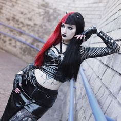 ❤️🖤❤️stylization from discount code: bluexastrid)lenses: Hot Goth Girls, Gothic Girls, Dark Fashion, Gothic Fashion, Steam Girl, Gothic Looks, Goth Model, Gothic Outfits, Edgy Outfits